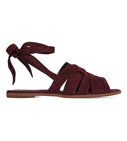 LK BENNETT Selma suede sandals (Red-damson