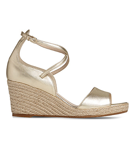 LK BENNETT Nellie metallic leather espadrille sandals (Gol-pale+gold