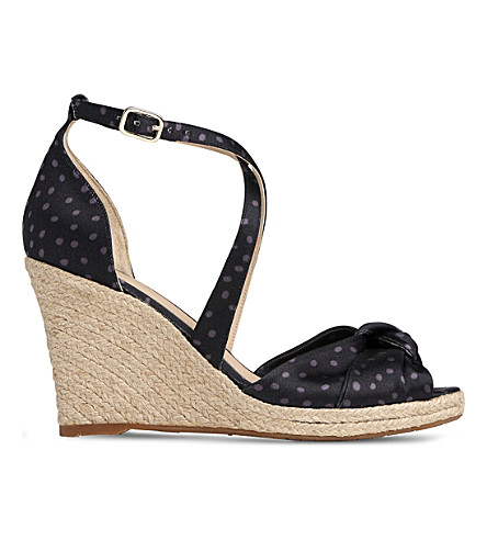 LK BENNETT Angeline polka dot leather espadrille sandals (Pri-navy