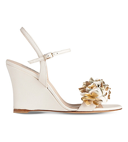 LK BENNETT Catherine leather wedge sandals (Mul-cream/gold