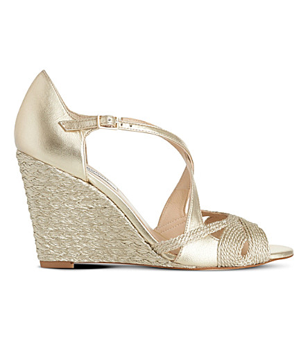 LK BENNETT Juliette metallic leather wedges (Gol-pale+gold