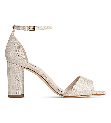 LK BENNETT Helena lizard-effect metallic sandals (Cre-metallic+cream