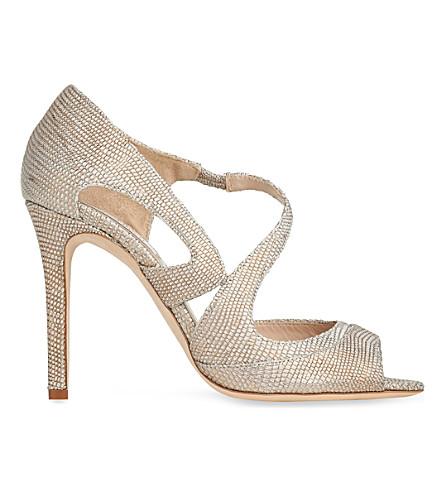 LK BENNETT Valentina metallic croc-embossed leather sandals (Gol-plat+blush