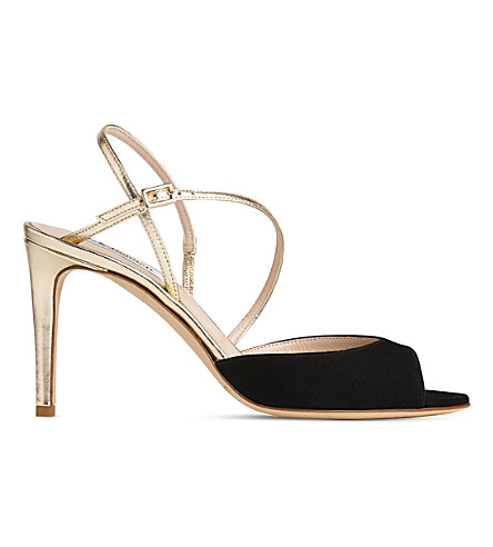 LK BENNETT Camilla suede and metallic leather sandals (Mul-black/gold
