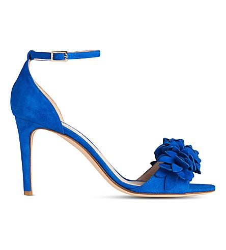 LK BENNETT Claudie flower-embellished suede sandals (Blu-majorelle