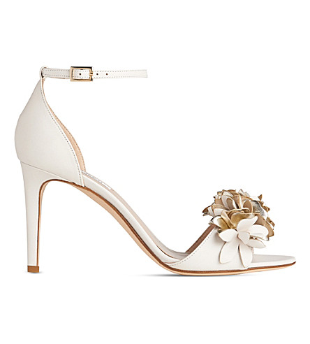 LK BENNETT Claudie flower-embellished leather sandals (Mul-cream/gold