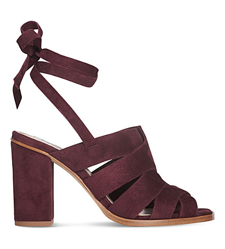 LK BENNETT Seline suede sandals (Red-damson