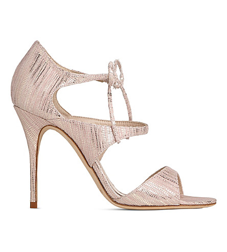 LK BENNETT Karlie snake-effect leather sandals (Pin-blush