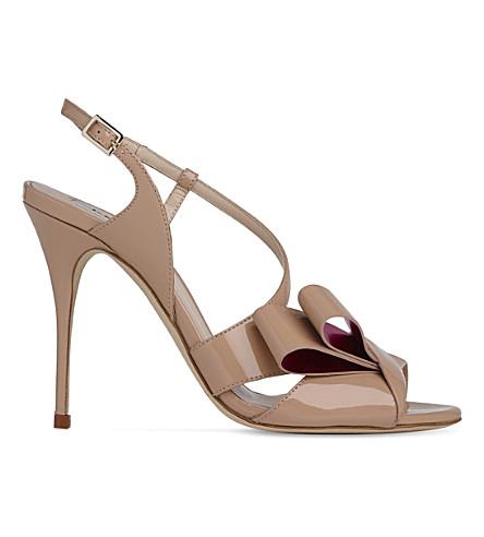 LK BENNETT Erica asymmetric patent leather sandals (Bei-trench/fuchsia