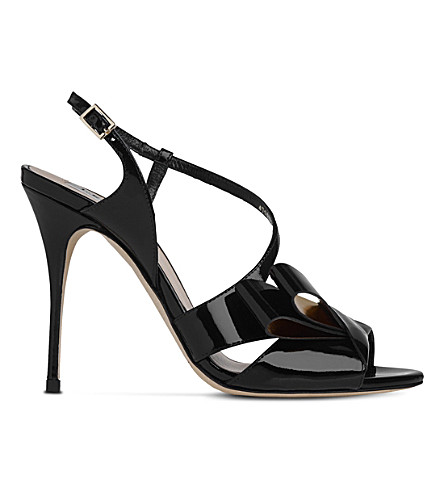 LK BENNETT Erica asymmetric patent leather sandals (Bla-black/gold