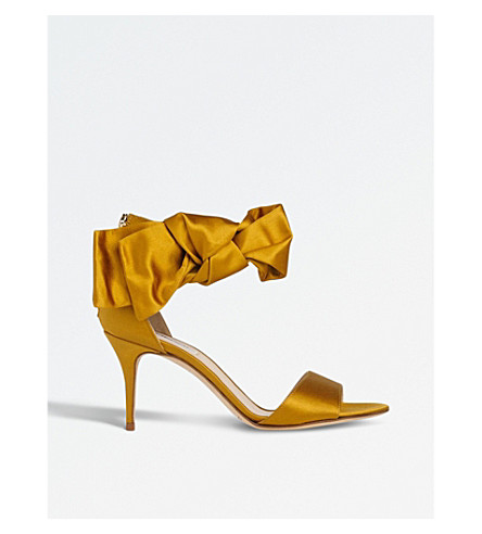 LK BENNETT Agata bow-embellished satin sandals (Gol-warm+gold
