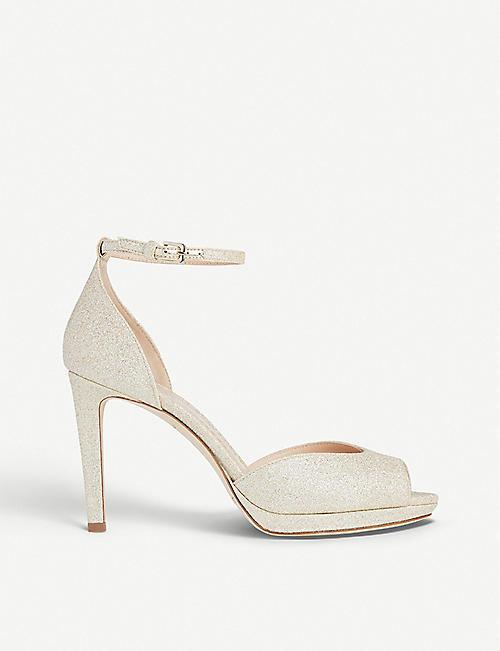 2016 Hot Sale L.K. Bennett Lara Peep Toe Shoes Women Black Leather FSHMF43