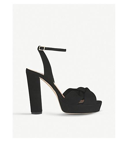 LK BENNETT 安娜贝拉绒面革平台凉鞋 (黑色