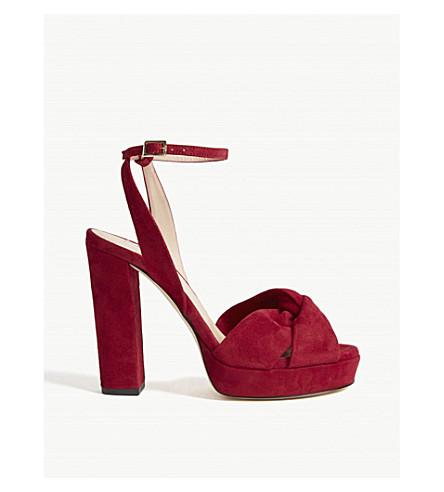 LK BENNETT Annabella suede platform sandals (Red-poppy