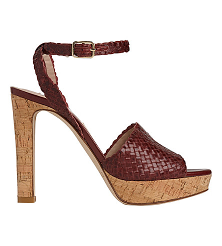 LK BENNETT Margot woven leather sandals (Red-damson