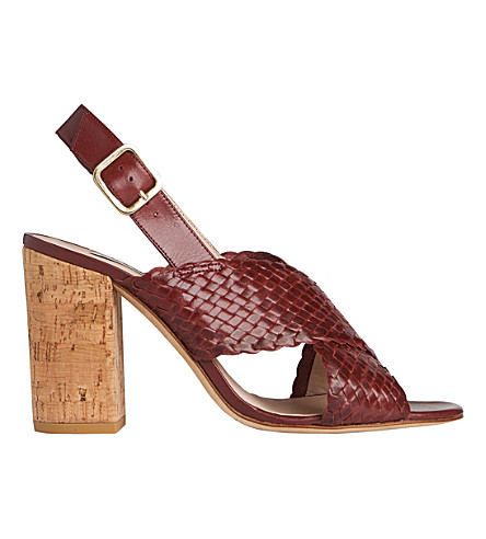 LK BENNETT Mel woven leather sandals (Red-damson