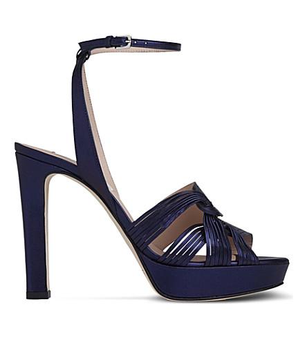 LK BENNETT Leighton leather platform sandals (Blu-navy