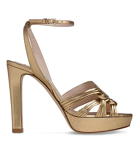 LK BENNETT Leighton leather platform sandals (Gol-gold