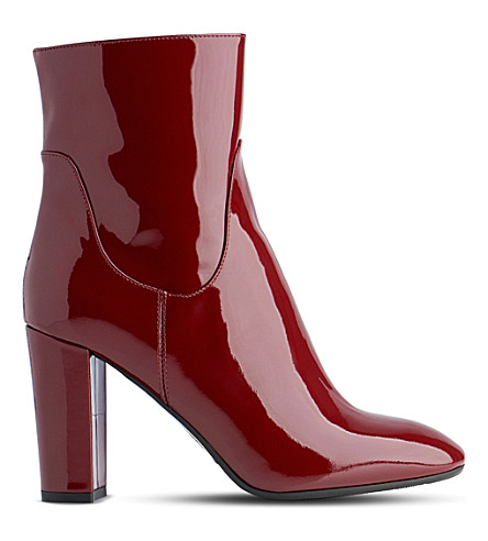 LK BENNETT Pellino patent-leather heeled ankle boots (Red-truffle