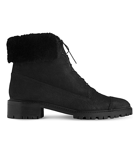 LK BENNETT Alaska cuffed nubuck-leather boots (Bla-black