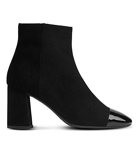 LK BENNETT Wyatt patent toecap suede ankle boots (Bla-black