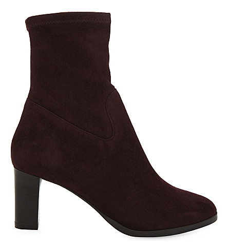 LK BENNETT Kayla stretch-suede ankle boots (Red-oxblood
