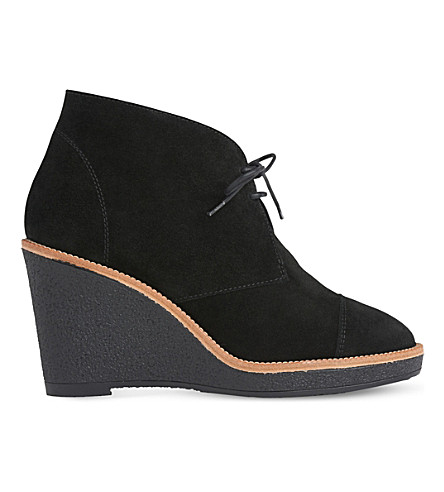 LK BENNETT Madi suede wedge ankle boots (Bla-black