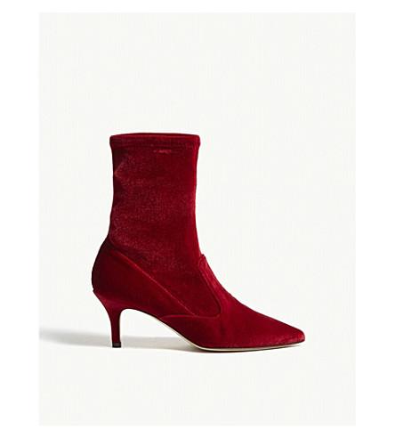 LK BENNETT Lou velvet ankle boots (Red-roca+red
