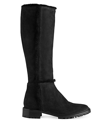 LK BENNETT Timara knee-high nubuck boots (Bla-black