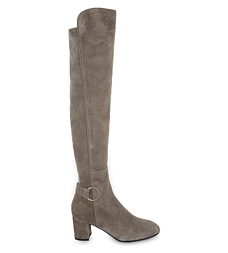 LK BENNETT Amba suede over-the-knee boots (Gry-silver+birch