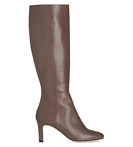 LK BENNETT Eloria leather knee boots (Gry-silver+birch