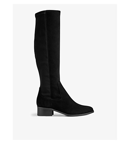 LK BENNETT Bella stretch suede knee boots (Bla-black