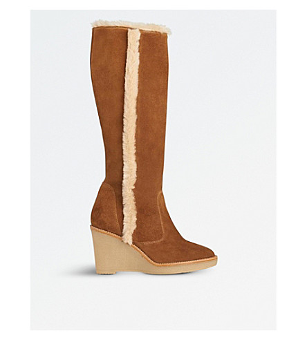 LK BENNETT Margie suede knee-high boots (Bro-tobacco