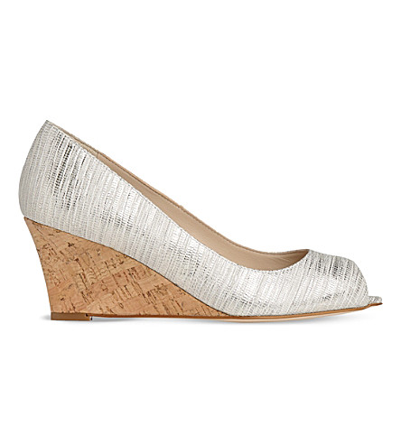 LK BENNETT Kiki leather and cork wedges (Cre-metallic+cream