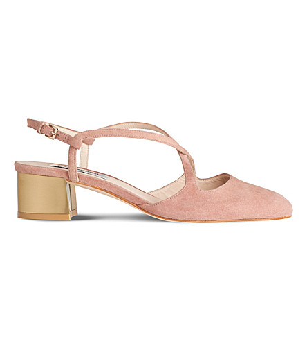 LK BENNETT Claudette suede block heel sandals (Pin-dark+pink