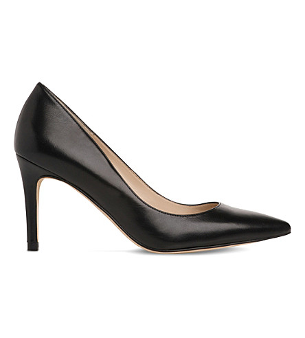 LK BENNETT Floret leather heeled courts (Bla-black