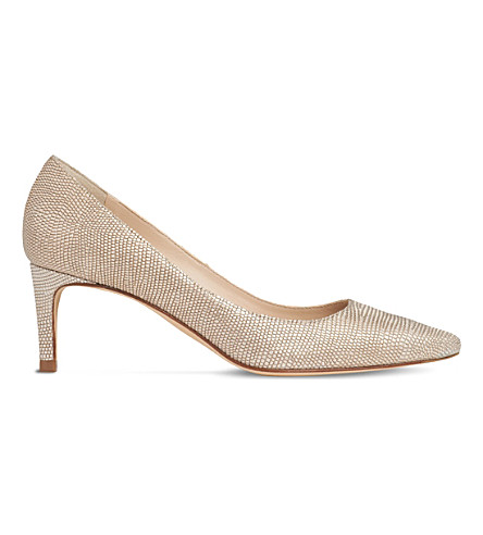 LK BENNETT Florida lizard-effect metallic courts (Gol-plat+blush