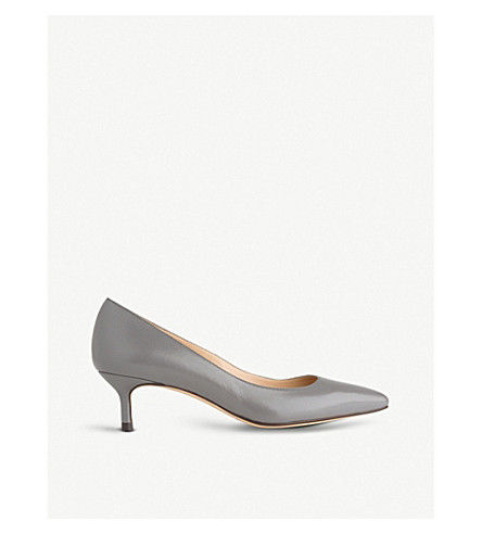 LK BENNETT Audrey leather kitten heel courts (Gry-warm+grey