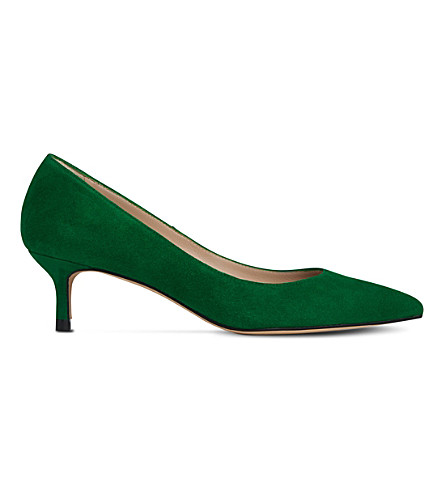 LK BENNETT Audrey suede kitten heel courts (Gre-apple+green