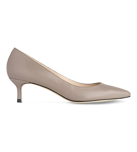 LK BENNETT Audrey leather kitten heel courts (Gry-silver+birch