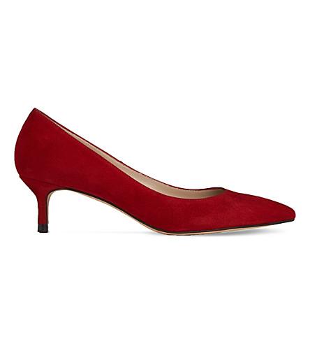 LK BENNETT Audrey suede kitten heel courts (Red-roca+red