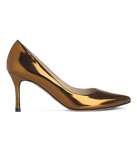 LK BENNETT Bianca metallic-leather courts (Gol-warm+gold