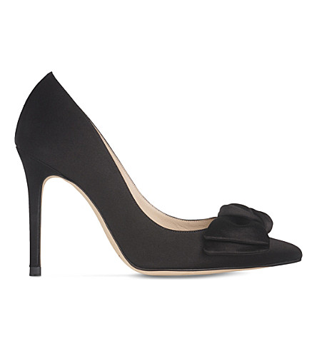LK BENNETT Aine bow-detail satin courts (Bla-black