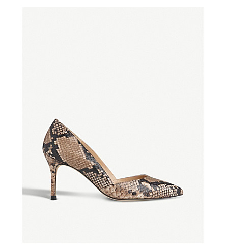 LK BENNETT Elena reptile-print leather courts (Pri-natural