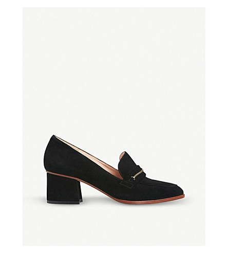LK BENNETT Emma suede heeled loafers (Bla-black