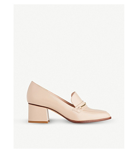 LK BENNETT Emma leather heeled loafers (Nat-stone