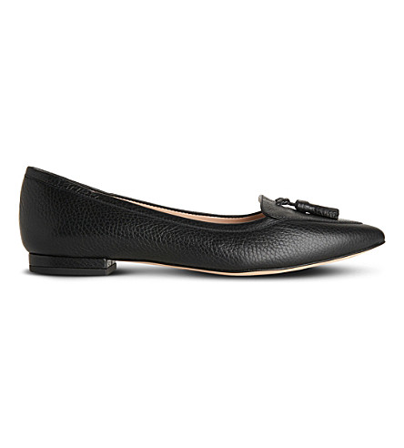LK BENNETT Dixie tasselled leather flats (Bla-black