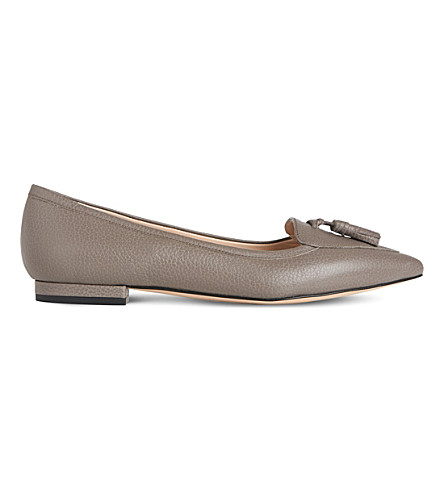 LK BENNETT Dixie tasselled leather flats (Gry-silver+birch