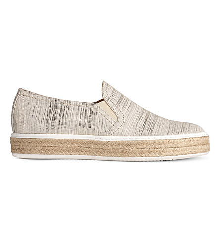 LK BENNETT Esther metallic leather flat espadrilles (Cre-metallic+cream