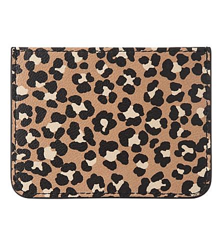 LK BENNETT Kasia leopard-print grained leather card holder (Pri-animal